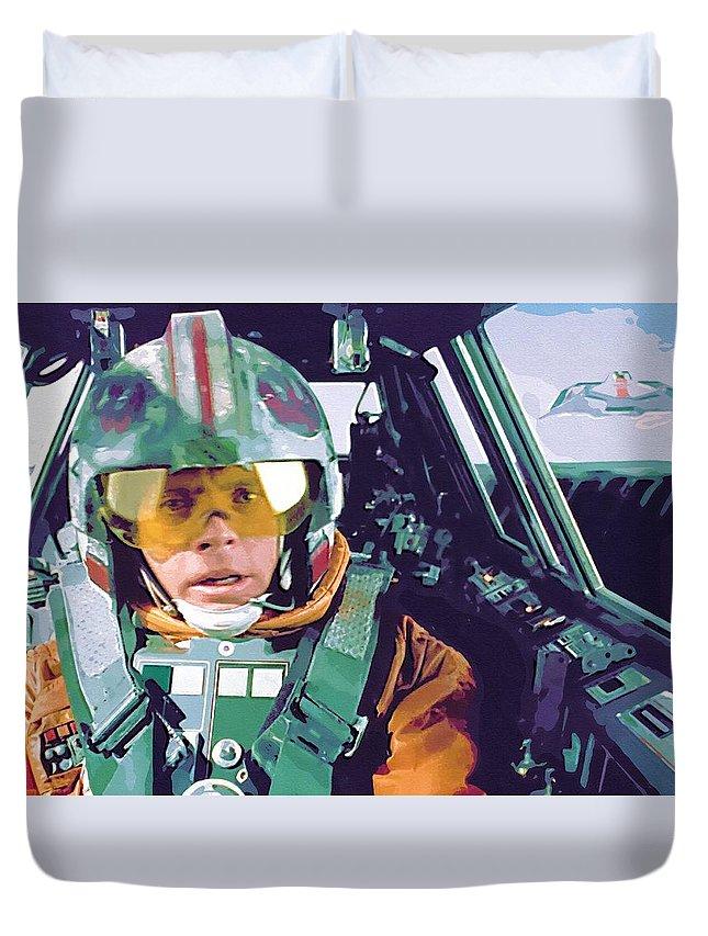Star Wars Yoda Duvet Cover featuring the digital art Vintage Star Wars Art by Larry Jones