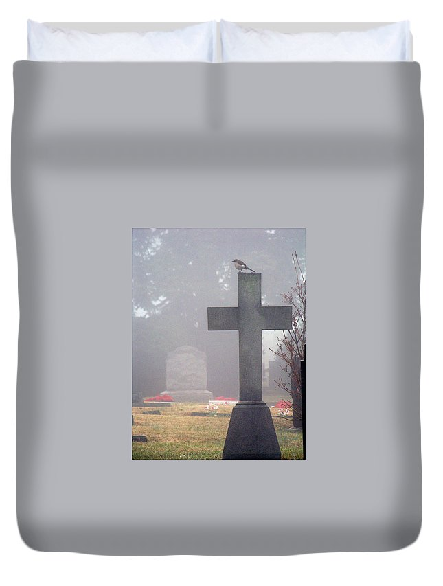 Fog Duvet Cover featuring the photograph 9000-foggy Morning by Martha Abell