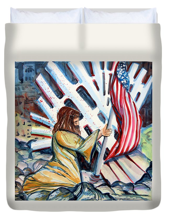 911 Duvet Cover featuring the painting 911 Cries For Jesus by Mindy Newman