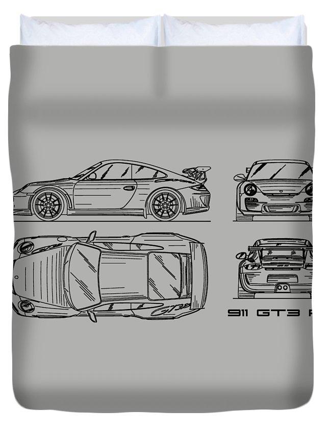 Porsche 911 Blueprint Duvet Cover featuring the photograph 911 Gt3 Rs Blueprint - White by Mark Rogan