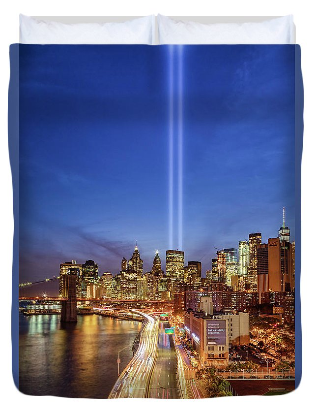 911 Memorial Duvet Cover featuring the photograph 911 Tribute In Light In Nyc II by Susan Candelario