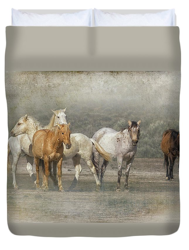 Wild Horses Duvet Cover featuring the photograph A Band Of Horses by Belinda Greb