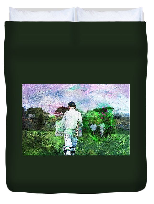 Batting Duvet Cover featuring the photograph A Batsmans World by Zahra Majid