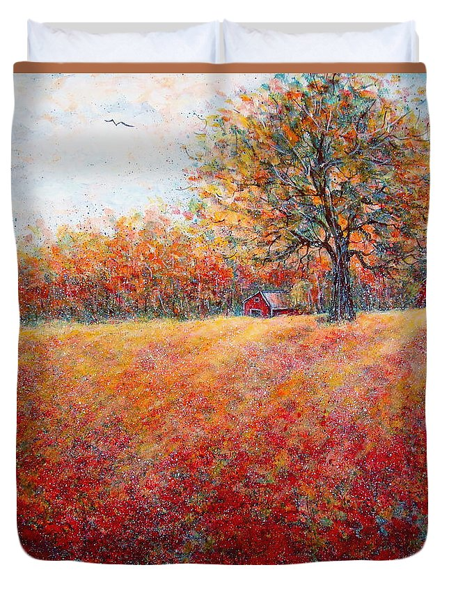 Autumn Landscape Duvet Cover featuring the painting A Beautiful Autumn Day by Natalie Holland