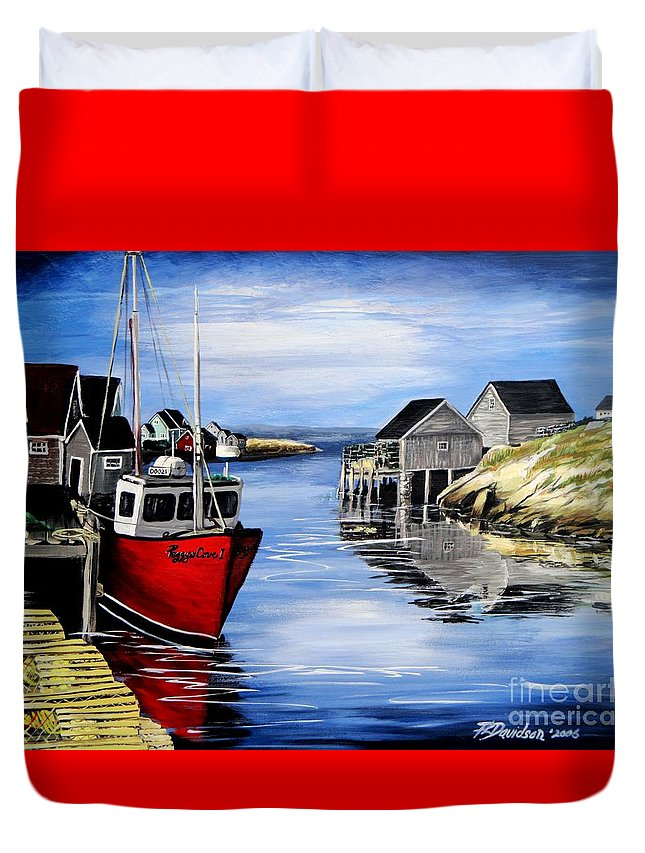 Peggys Cove Duvet Cover featuring the painting A Beautiful Day At Peggy's Cove by Patricia L Davidson