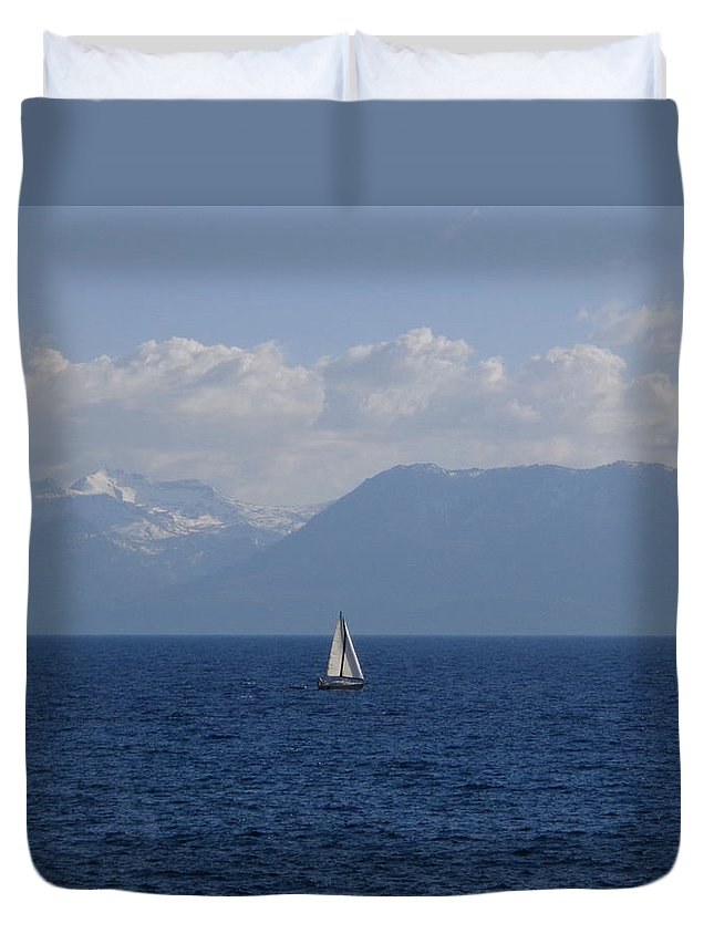 Sailboat Duvet Cover featuring the photograph A Beautiful Day For Sailing by Kristina Lammers
