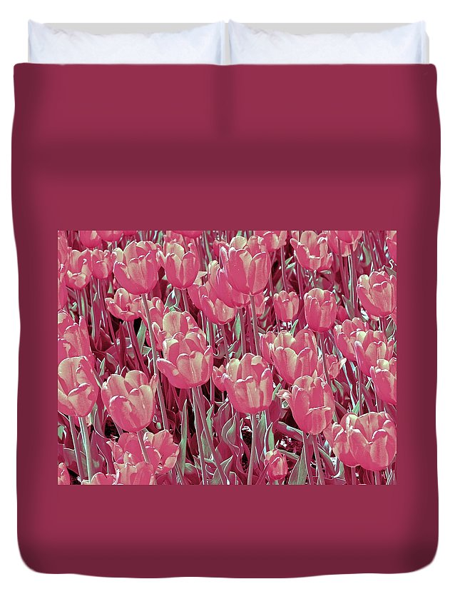 Hollander Duvet Cover featuring the photograph A Bed of Pink and Green 2.0 by Michelle Calkins