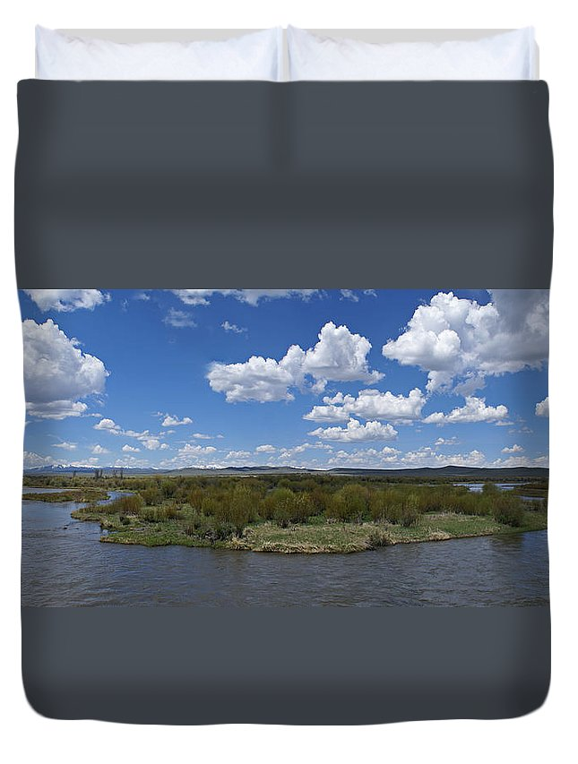 River Duvet Cover featuring the photograph A Bend In The River by Heather Coen