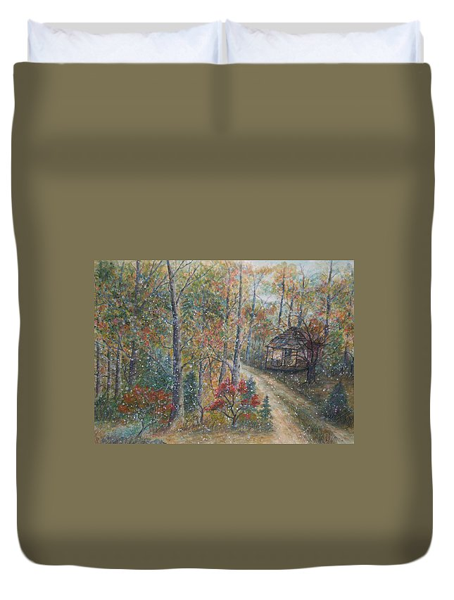 Country Road; Old House; Trees Duvet Cover featuring the painting A Bend In The Road by Ben Kiger