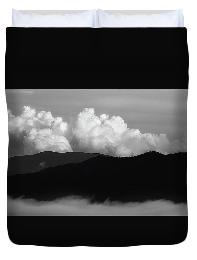 Smoky Mountains Duvet Cover featuring the photograph A Black And White Day by Mike Eingle