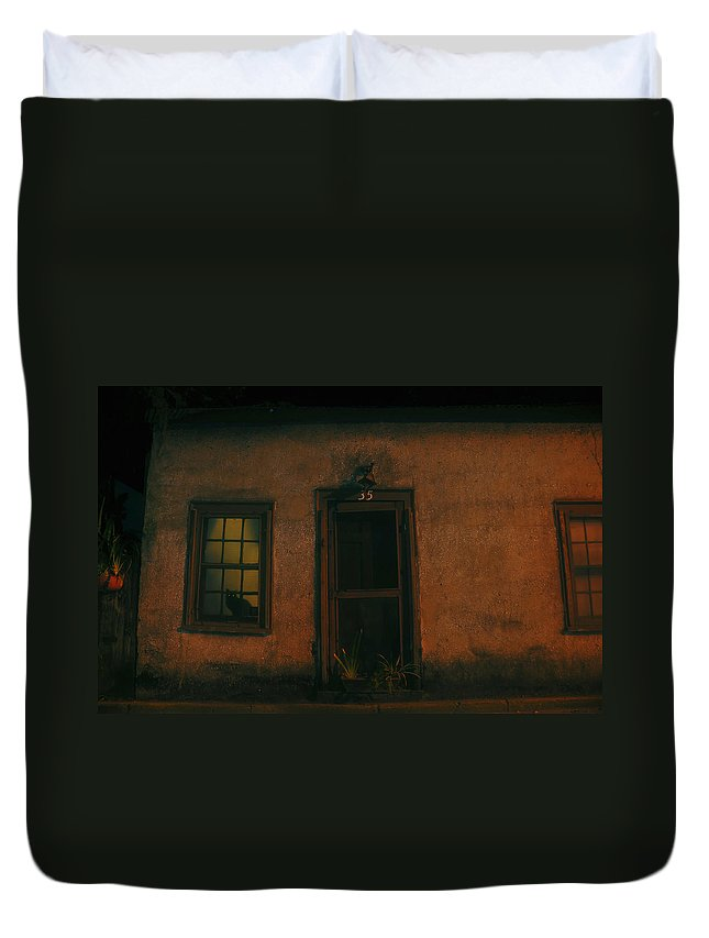 Black Cat Duvet Cover featuring the photograph A Black Cat's Night by David Lee Thompson