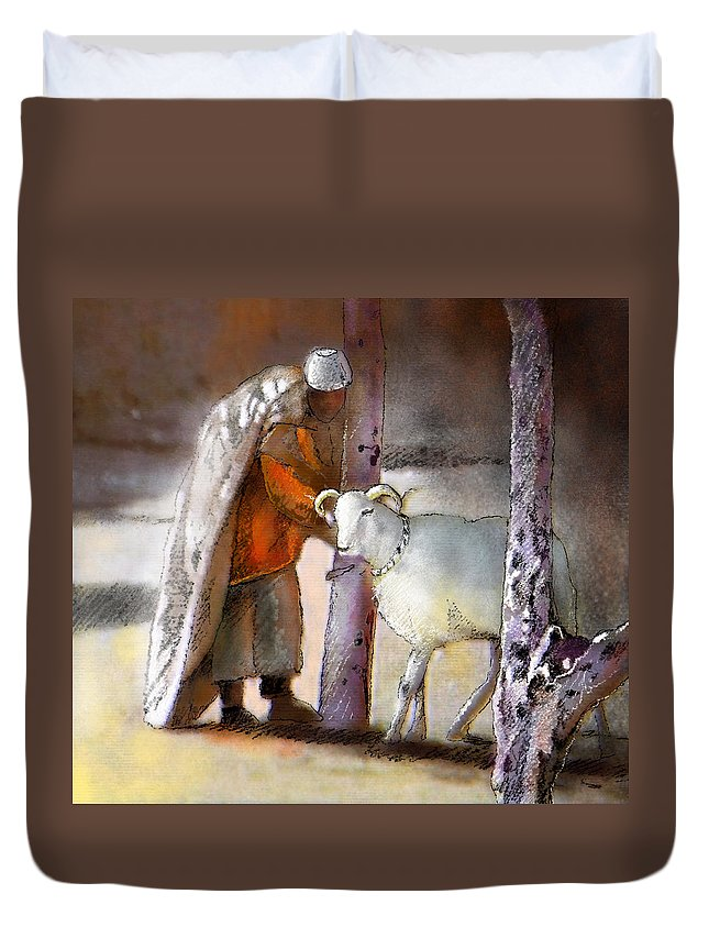 Eid Ul Adha Duvet Cover featuring the painting A Blessed Eid by Miki De Goodaboom