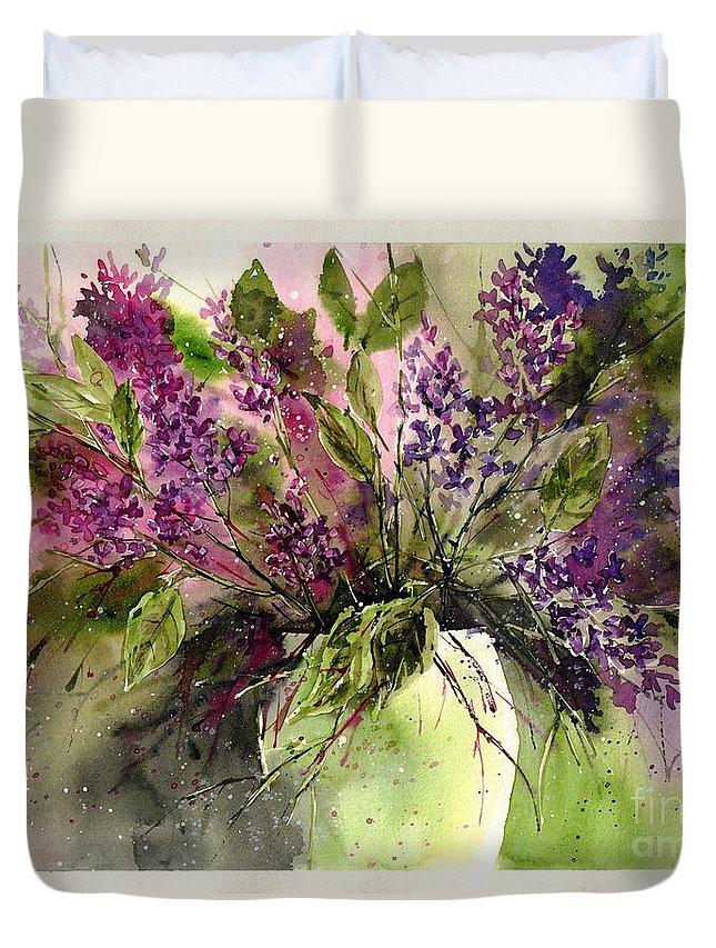 Floral Duvet Cover featuring the painting A Bouquet Of May-lilacs by Suzann Sines