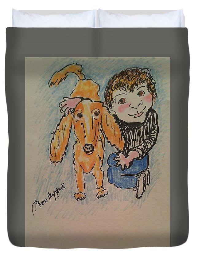 Kids Duvet Cover featuring the painting A Boy And His Dog by Geraldine Myszenski