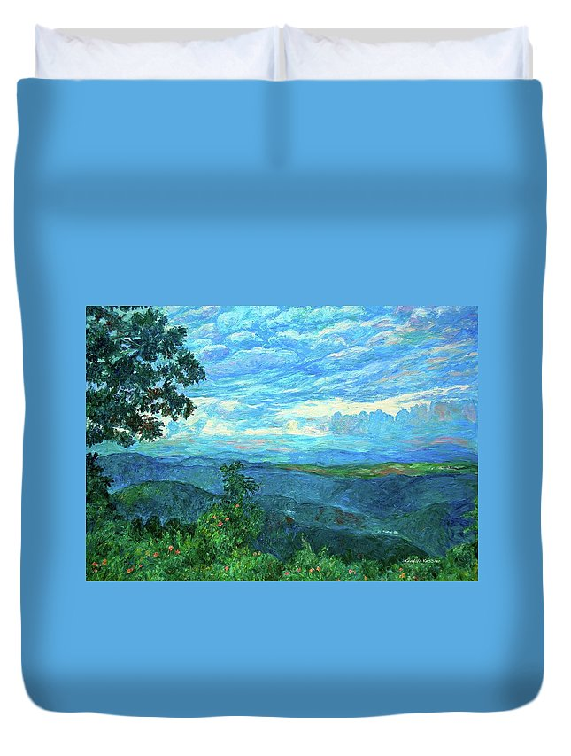 Mountains Duvet Cover featuring the painting A Break In The Clouds by Kendall Kessler