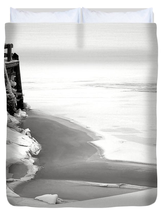 Maine Duvet Cover featuring the photograph A Break In The Kennebec by Olivier Le Queinec