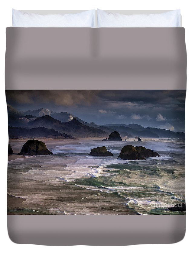 Beaches Duvet Cover featuring the photograph A Break In The Storm by Robert Potts