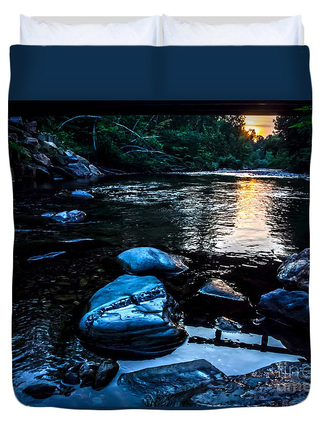 Stones Duvet Cover featuring the photograph A Browns River Sunset by James Aiken