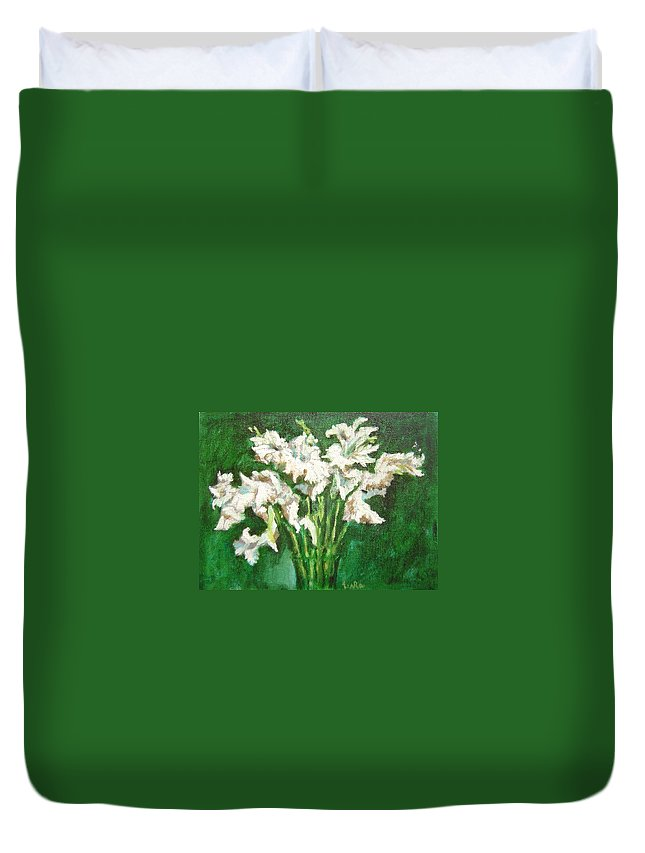 Bunch Duvet Cover featuring the painting A bunch of White Gladioli by Usha Shantharam