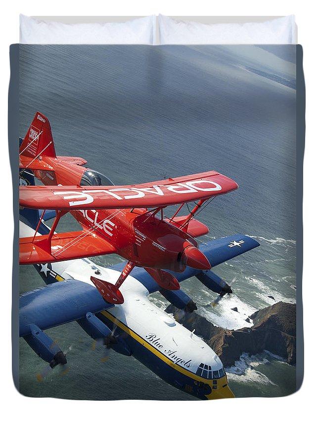 Fat Albert Duvet Cover featuring the photograph A C-130 Hercules Fat Albert Aircraft by Stocktrek Images