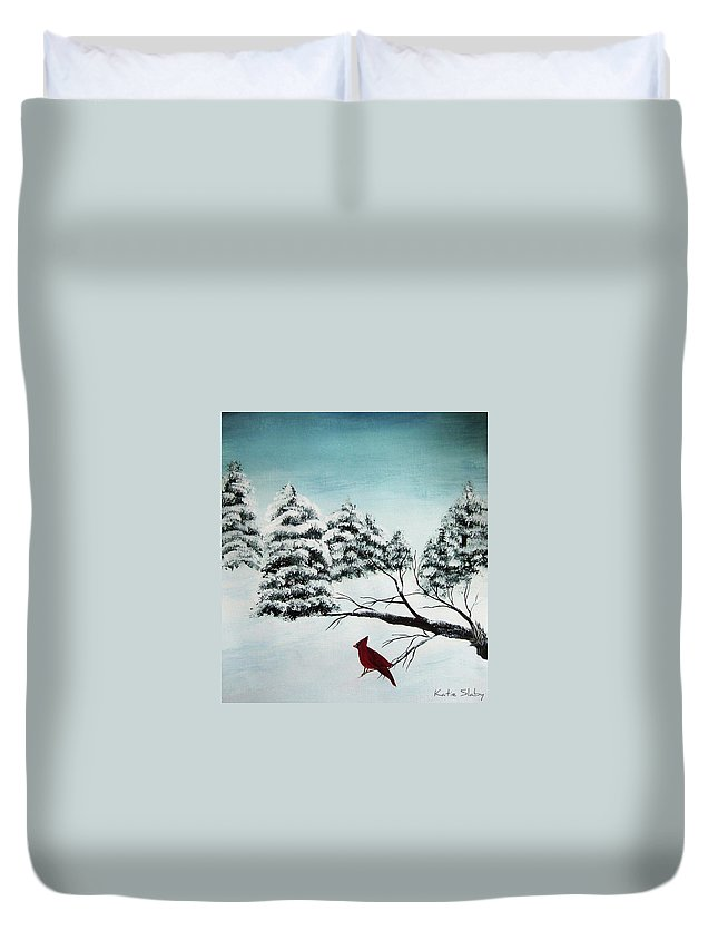 Winter Duvet Cover featuring the painting A Cardinals Perch by Katie Slaby