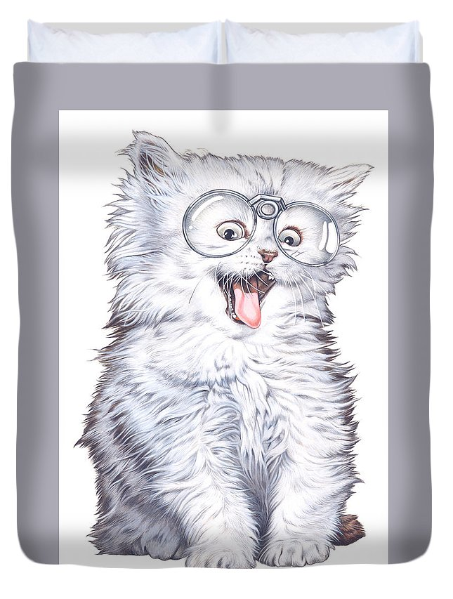 Illustration Duvet Cover featuring the drawing A Cat With Glasses by Shiro Yamaguchi