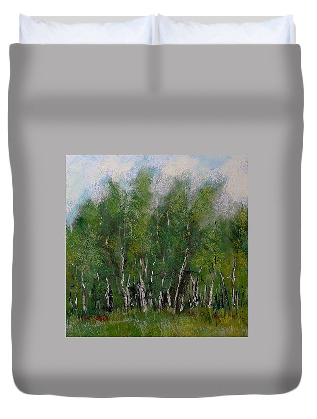 A Cluster Of Birch Duvet Cover featuring the painting A Cluster Of Birch by David Patterson