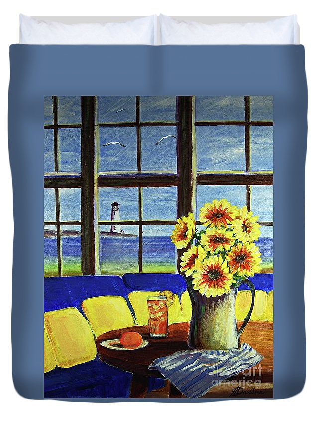 Beaches Duvet Cover featuring the painting A Coastal Window Lighthouse View by Patricia L Davidson