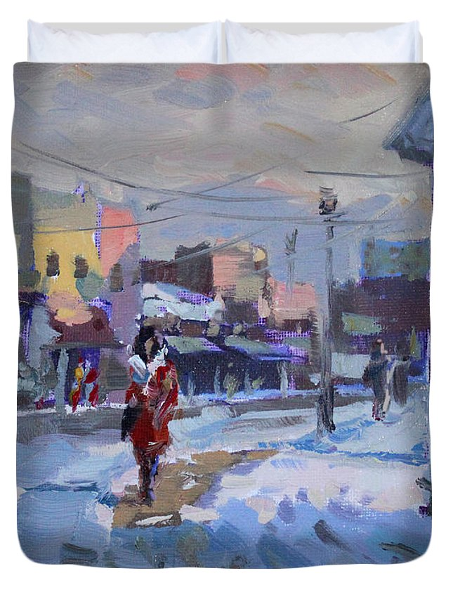 Cold Afternoon Duvet Cover featuring the painting A Cold Afternoon In Tonawanda by Ylli Haruni