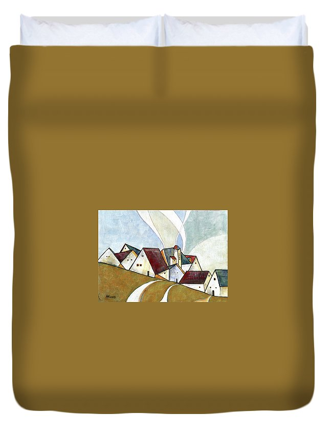 Original Art Duvet Cover featuring the painting  A Cold Day by Aniko Hencz