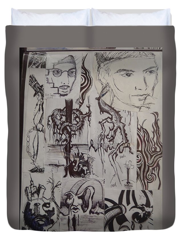 Faces Duvet Cover featuring the drawing A Collage Of Sketches by Jaime Paberzis