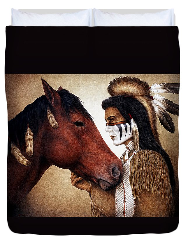 Horse Duvet Cover featuring the painting A Conversation by Pat Erickson