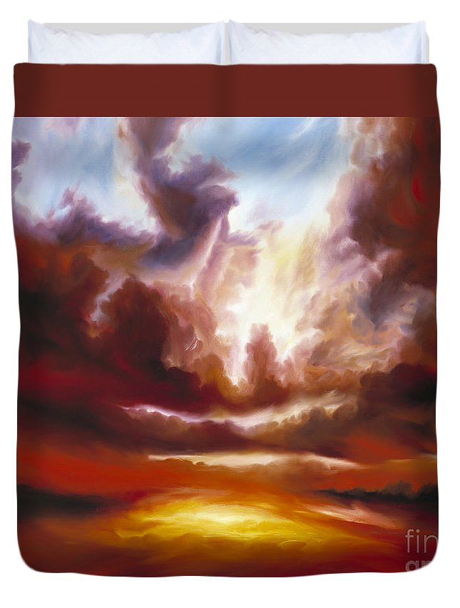 Tempest Duvet Cover featuring the painting A Cosmic Storm - Genesis V by James Christopher Hill