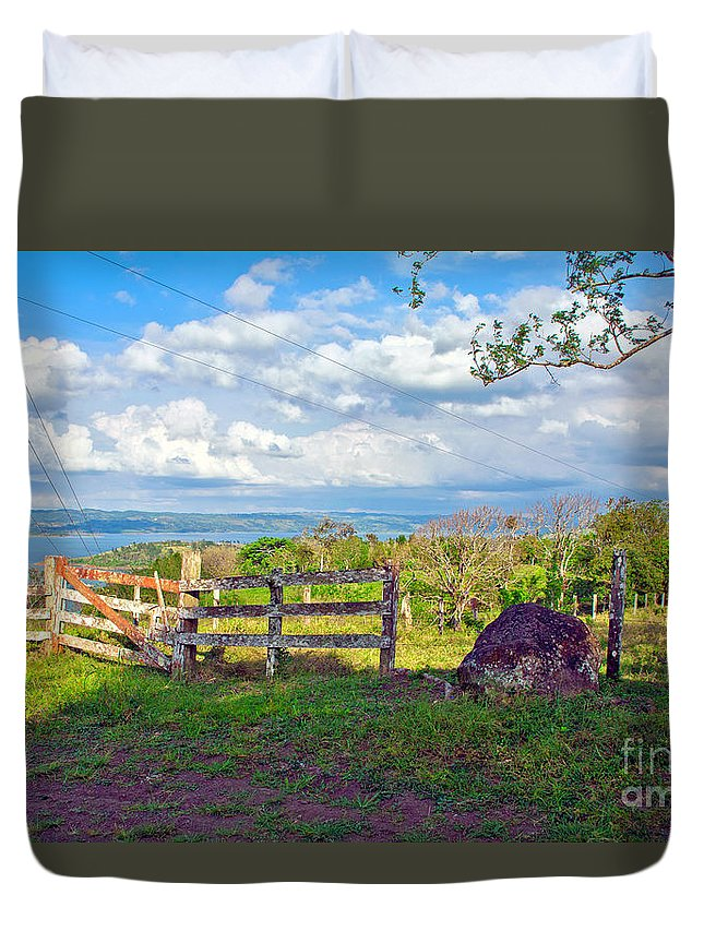Landscape Duvet Cover featuring the photograph A Costa Rica View by Madeline Ellis