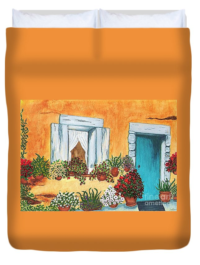Watercolor Painting Duvet Cover featuring the painting A Cottage In The Village by Patricia Griffin Brett