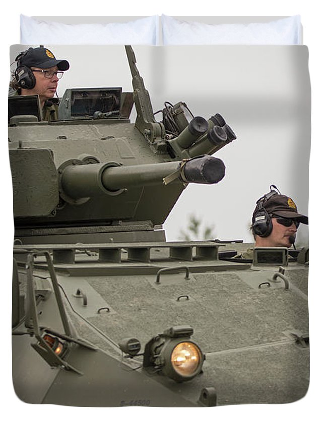 Military Duvet Cover featuring the photograph A Cougar With A 76 Mm Bite - Cougar Avgp by Spencer Bush