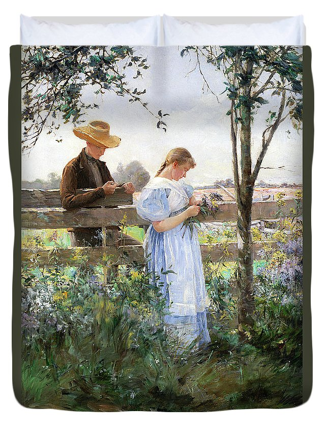 A Country Romance (oil On Canvas) By David B. Walkley (1849-1934) Duvet Cover featuring the painting A Country Romance by David B Walkley