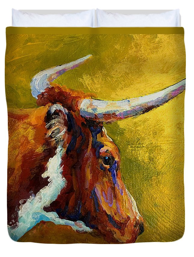 Western Duvet Cover featuring the painting A Couple Of Pointers - Longhorn Steer by Marion Rose