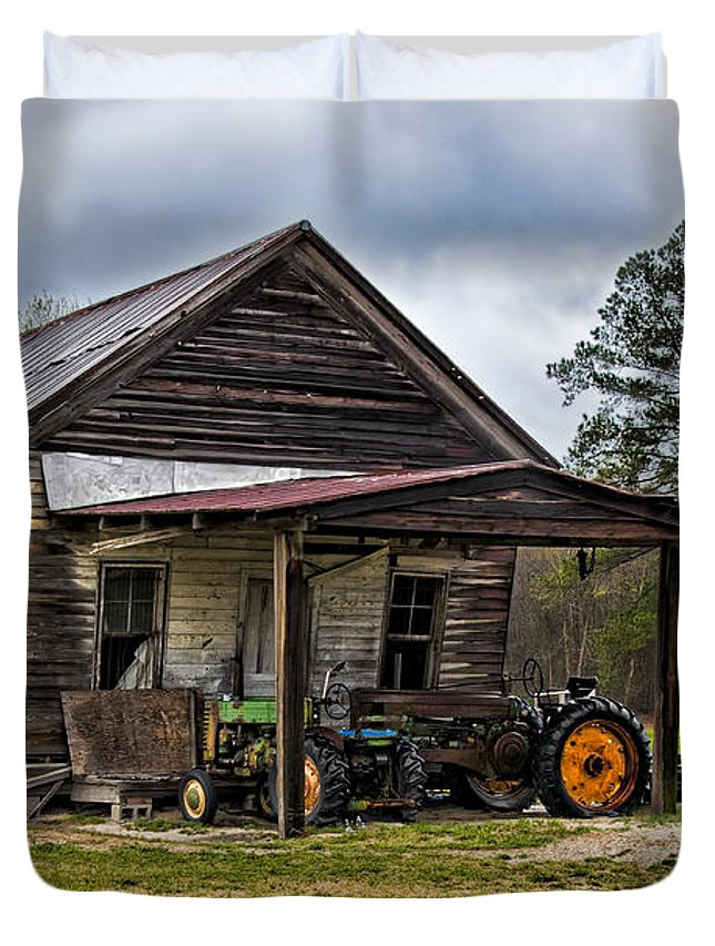 Barn Duvet Cover featuring the photograph A Crooked Little Barn by Christopher Holmes
