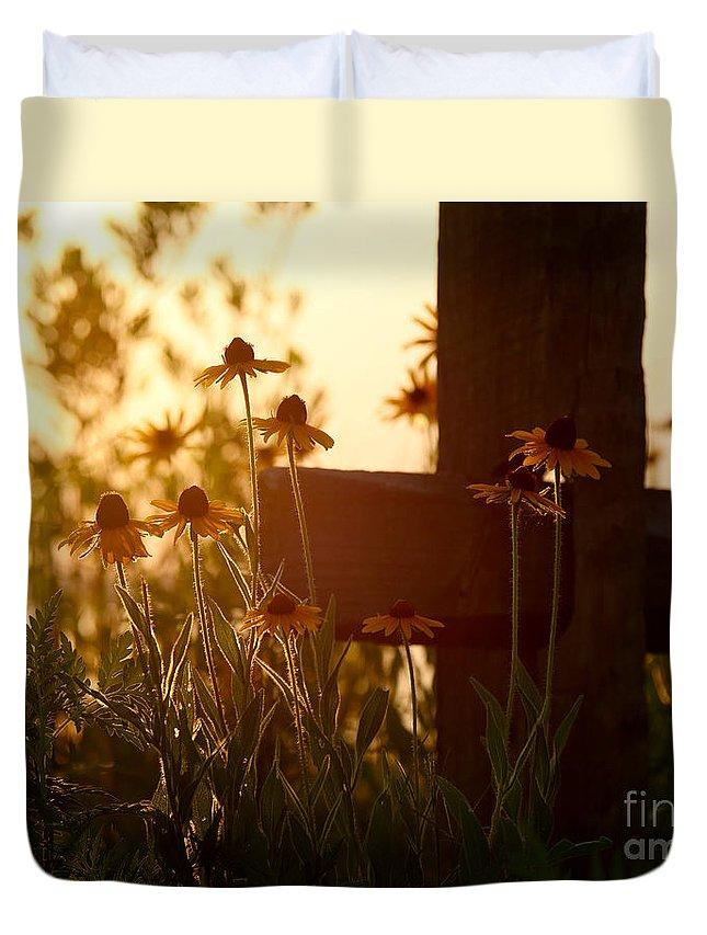Flowers Duvet Cover featuring the photograph A Cross by Rachel Morrison