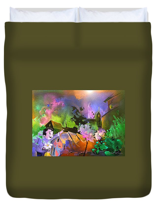 Dream Duvet Cover featuring the painting A Daisy For Mary by Miki De Goodaboom