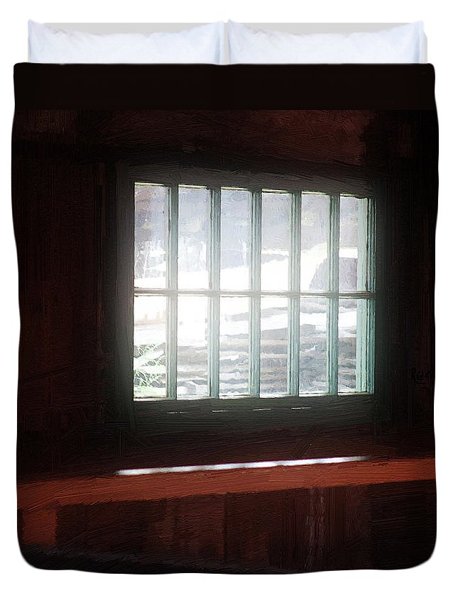 Window Duvet Cover featuring the painting A Dark And Fearsome Place by RC DeWinter