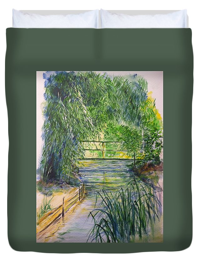 Giverny Duvet Cover featuring the painting A Day At Giverny by Lizzy Forrester