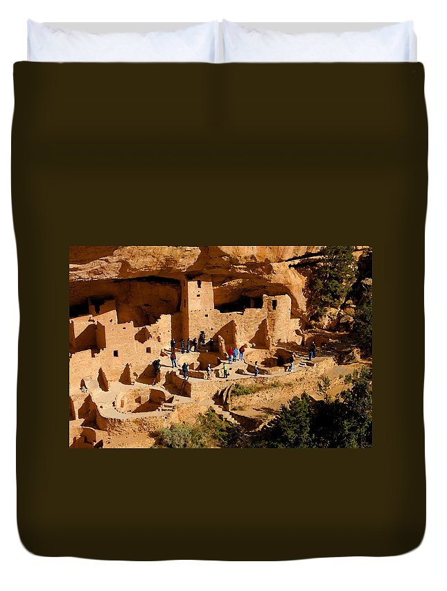 Art Duvet Cover featuring the painting A Day At Mesa Verde by David Lee Thompson