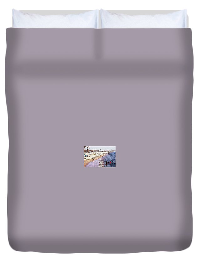 Beach Duvet Cover featuring the photograph A Day At The Beach - Colored Pens Effect by Robert Butler