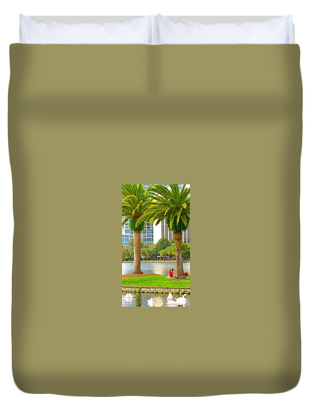 Lake Eola Park In Orlando Duvet Cover featuring the photograph A Day At The Park by Gordon Castle