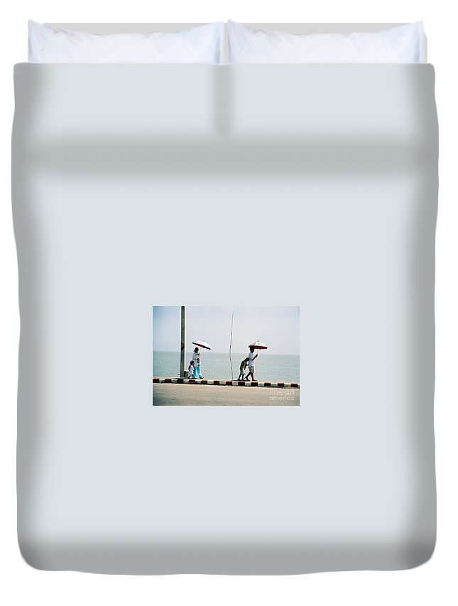 Landscape Duvet Cover featuring the photograph A Day By The Sea by Mary Rogers