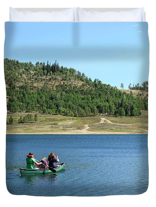 Cleveland Reservoir Duvet Cover featuring the photograph A Day In A Canoe by K Bradley Washburn