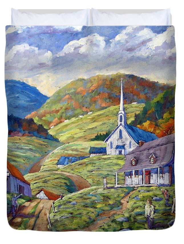 Landscape Duvet Cover featuring the painting A Day In Our Valley by Richard T Pranke