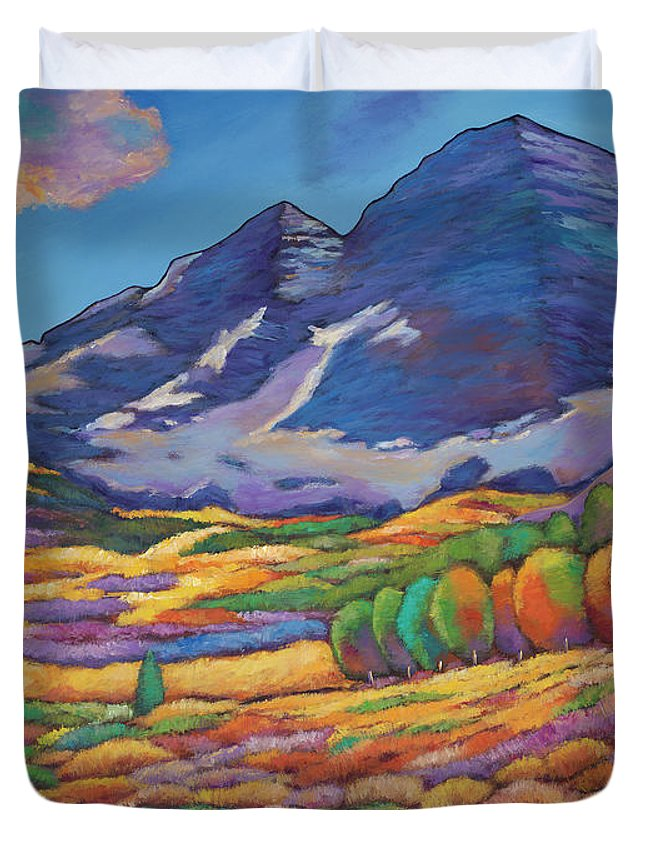 Aspen Tree Landscape Duvet Cover featuring the painting A Day In The Aspens by Johnathan Harris